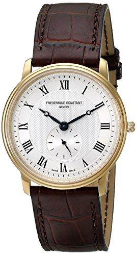 Frederique Constant Men's 235M4S5 Slim Line Analog Swiss Quartz Brown Watch