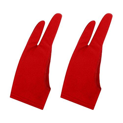 Handschuhe ARTIST GLOVE für Graphic Tablet, 2Stück gratis Größe Nylon Handschuhe für Zeichnen, Nylon, rot, S