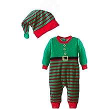 5881909b87fb JEELINBORE Bambino Ragazzi Ragazze 2PCS Natale Pagliaccetto Neonato Costume da  Elfo con Cappello Xmas Pigiama