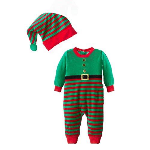 JEELINBORE Bambino Ragazzi Ragazze 2PCS Natale Pagliaccetto Neonato Costume da Elfo con Cappello Xmas Pigiama - A Strisce # Verde, 95 (per Altezza Entro 80cm)