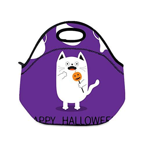 Lunchtasche für Kinder, Halloween, verängte Katze, Mädchen, kleine Handtaschen, leichte Sandwich-Box