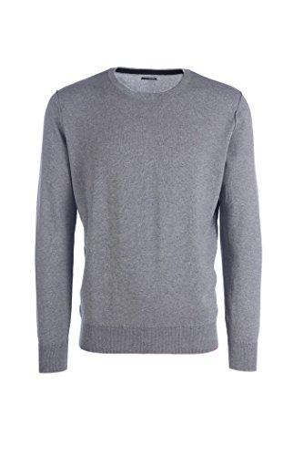 Adam - maglione da uomo girocollo - cotone cashmere - cuciture esterne (52 l it uomo, grigio medio melange)