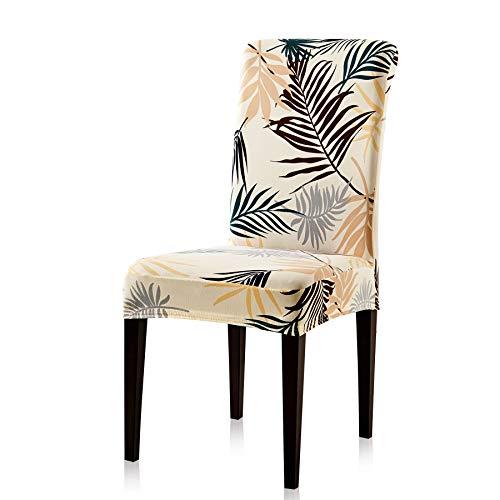 Subrtex coprisedie con schienale stampa a foglie 2 pezzi copertura della sedia da pranzo, copertura protettiva decorative elasticizzato rimovibile lavabile (2 pezzi, foglie gialle)