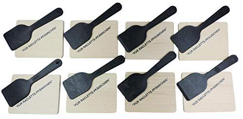 Viva-Haushaltswaren Raclette Zubehör-Set 16 teilig für 8 Personen / bestehend aus: 8 Holzbrettchen mit Aufdruck und 8 Racletteschiebern aus hochwertigem Kunststoff inkl. einer Geschenktasche