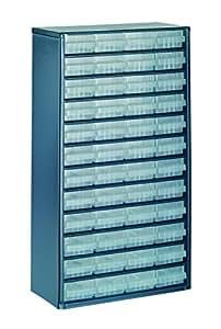 raaco 137393 1248- 01 Casier avec 48 tiroirs, Bleu/transparent