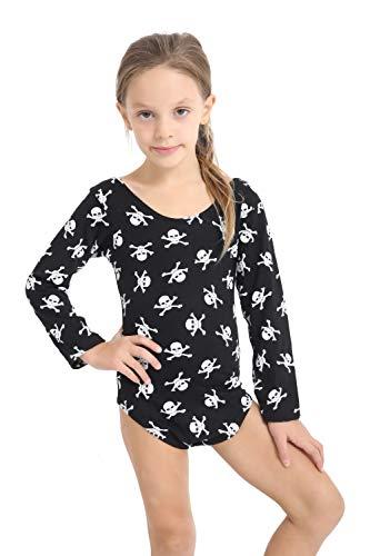 Momo&Ayat Fashions Mädchen Skull & Crossbones Printed Schwarz Body Body Alter 5-13 Jahre (Alter 9-10 Jahre, Schädel Schwarz) (Alter 12 10 Halloween-kostüme)