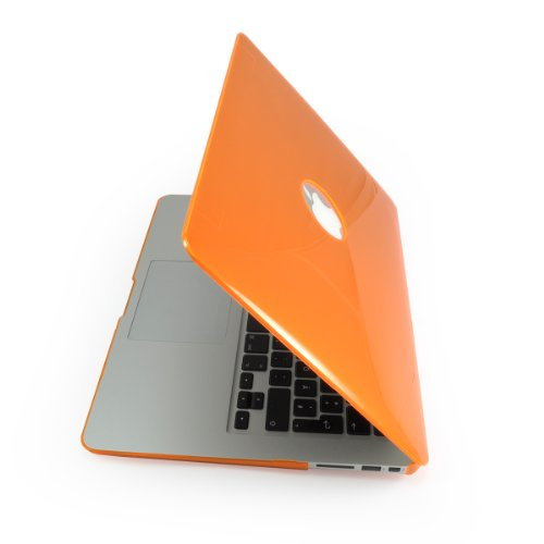 "MacBook Air 11"" / 11,6 Zoll Notebook Hardcase, Aussparung für Apple Logo, Crystal Case Etui Tasche Unibody Transparent-Gelb, Schutz Hülle Protector Schutzhülle Cover Case Notebookhülle Hartschale Hartschalenkoffer, Farbe: Orange, Marke Incutex"