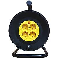Cable alargador con enrollador 3x1,5mm (4 tomas, 25 m) . Negro