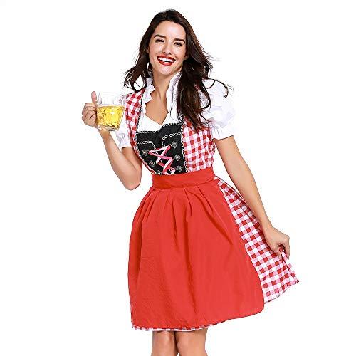 NEEKY Damen Oktoberfest Kostüme Dienstmädchen Kostüm Karo Kleid Kostüme Karneval KostüM(XL,rot)