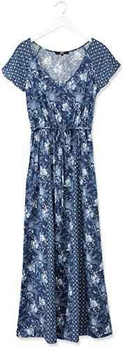FIND Robe Longue Imprimé Mixe Fleuri Femme Bleu (Blue)