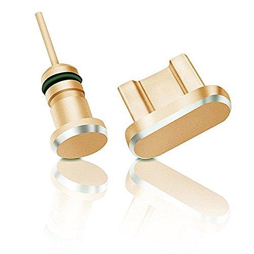 innoGadgets Tapon Antipolvo Smartphone Conjunto Tapa Protectora – Cubierta Toma Auriculares y Conector Micro-USB | Cable con Clip de Silicona Gratis|de Aluminio | Oro