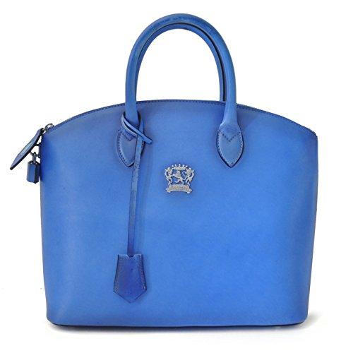 Pratesi Versilia borsa a mano in vera pelle - B348 Bruce (Senape) Blu elettrico