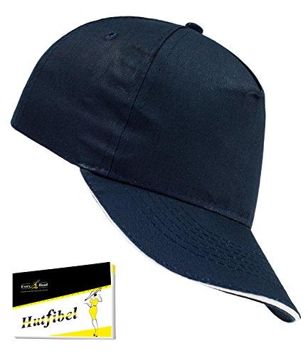 Atlantis Herrenbasecap Basecap Baseballcap Schirmmütze Schildmütze Sportcap Sommer Freizeitcap Sandwichschirm für Männer (AL-500-S17-HE2) inkl. EveryHead-Hutfibel
