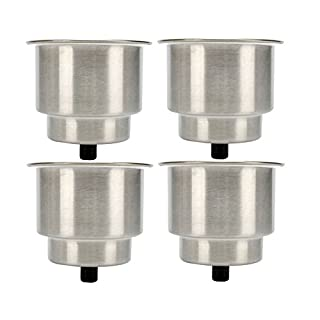 Amarine-made 4pcs Stainless Steel Cup Drink Holder with Drain Marine Boat Rv Camper