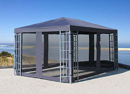 Quick-Star Rank Pavillon Set 3x4m Metall Garten Partyzelt Anthrazit mit 4 Seitenteilen mit...