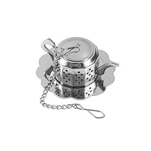 Merssavo Infuseur à thé en Acier Inoxydable Forme théière avec plateau Couleur de Acier