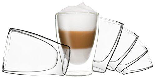 DUOS 6X 310ml doppelwandige Gläser, Latte Macchiato Thermogläser - Set mit Schwebe-Effekt, auch für Tee, Eistee, Säfte, Wasser, Cola, Cocktails geeignet, by Feelino
