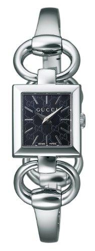 Gucci 120YA12051318mm quadrato quadrante nero in acciaio inossidabile al quarzo Orologio da donna