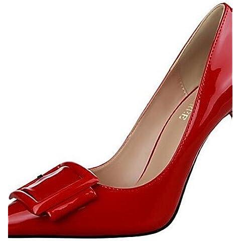 LvYuan-ggx Zapatos de mujer-Tac¨®n Stiletto-Tacones-Tacones-Vestido / Fiesta y Noche-Semicuero-Negro / Morado / Rojo / Blanco / Gris , black-us7.5 / eu38 / uk5.5 / cn38 , black-us7.5 / eu38 / uk5.5 / cn38