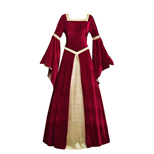 Fancy Kleid Damen Deutsch (Cosplayitem Mittelalter Kleid Renaissance Viktorianischen Kleid Fancy Dress Party Trompete Ärmel Kostüm)