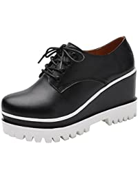 DADAWEN Damen Halbschuhe Plateau Schnürer Schuhe-Weiß 35