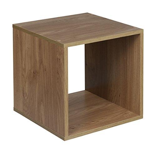 2 Regal Bücherregal Eiche (URBN LIVING ® 1, 2, 3, 4Etagen Holzregal Bücherregal Aufbewahrung Holz Regal, Eiche, Cube)