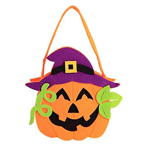 (Weimay Halloween Dekoration Requisiten Kürbis Tasche Liefert DIY Kinder Tragbare Kürbis Tasche Geschenktüte Süßigkeitstasche)