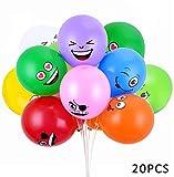 Emoji Party Balloons Latex Balloons 20 Pcs 12 Inch Emoji Funny Balloons Party Supplies (Colorful Emoji-20PCS)