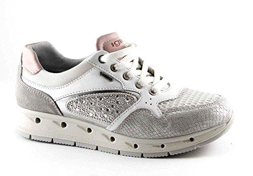 IGI&CO 77626 bianco argento scarpe donna sneakers lacci pelle gore-tex Bianco