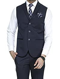 ManQ Men's Single Breast Three Button Slim Fit Formal/Party Waist coat - 11 Colors