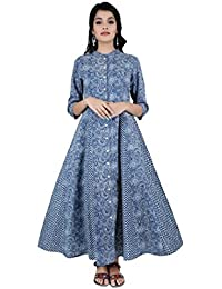 ANAYNA Women's Cotton Printed Front Open Long Anarkali Kurta With Mandarin Collar(Blue)