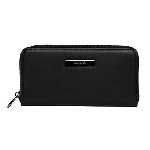 tragwert. Portemonnaie Damen Geldbörse in schwarz - Geldbeutel Portmonee MARIE aus veganem Glatt- Leder für Frauen