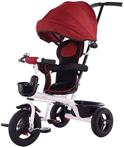 WLD Bambini 'S Training Vehicle Bambini' S Triciclo 4 in 1 Bicicletta Passeggino Passeggino Due vie Swivel Sedili Tricicli per bambini 1-6 Regalo per ragazzo e ragazza,Rosso