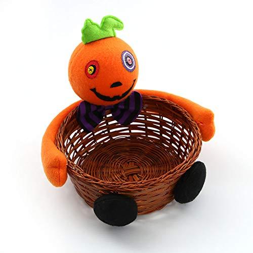 Newin Star 1 Stück Halloween Süßigkeiten Korb Geist Kürbis Kopf Puppe Dekoration Schüssel für Keks Obst, kürbis