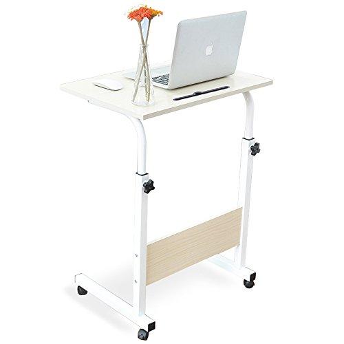 DlandHome 60 * 40cm Computertisch Lernen Schreibtich Pflegetisch Bettisch Frühstückstisch Höhenverstellbar mit Rollen Beistelltisch für Büro Schlafzimmer Mit Tablet-Steckplatz Ahorn