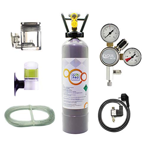 OCOPRO CO2 Anlage DLX-350 Plus Aquarium mit Nachtabschaltung & VOLLE 2kg Mehrwegflasche -