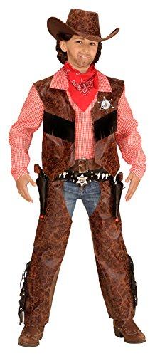 Widmann 05926 Kinderkostüm Cowboy, Shirt mit Weste, Chaps und Hut