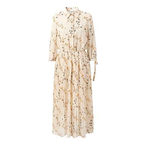 Floral Pleated Skirt (UOYJN Woman Dress Skirt Female Summer Popular Floral Skirt Pleated Skirt Sleeves Chiffon Dress Female)