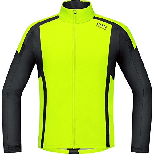 Gore Running Wear Air Windstopper Soft Shell - Camiseta de manga larga para hombre, color amarillo / negro, talla S