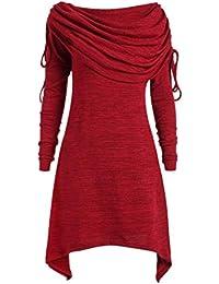2d57006f8 BBestseller Mujer Elegante Sweatshirts Manga Larga Color Sólido Pliegues  Largos Collar Sección OtoñO E Invierno Escudo