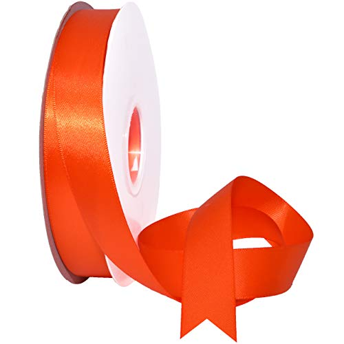 Morex Ribbon 088 Double Face Satin Band, Polyester, Autumn Orange, 7/8 Inch by 50 Yards -