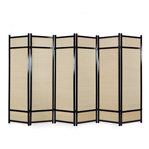Homestyle4u 388 Paravent 6 teilig Raumteiler 6 fach Holz Schwarz Shoji Bambus Trennwand Spanische Wand Sichtschutz faltbar