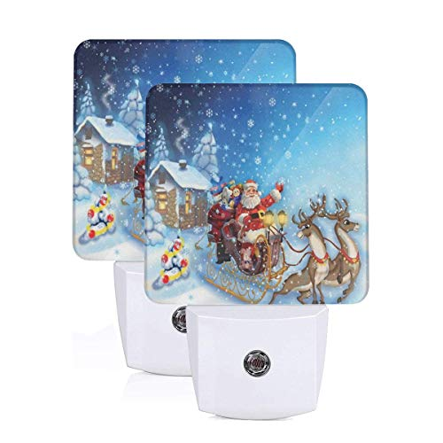 Santa In Sleigh With Reindeer And Toys In Snowy North Pole Tale Fantasy Image Auto Sensor LED Dusk to Dawn Night Light Set Of 2 White