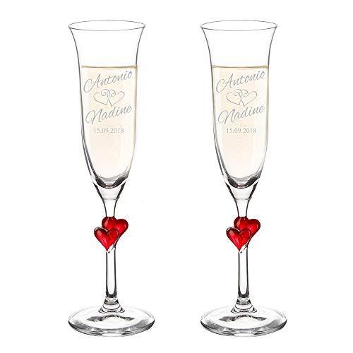 Amavel set 2 calici con cuori rossi e incisione - personalizzati con nomi e data - bicchieri sposi - flute spumante per coppie - degustazione - idee regalo matrimonio - anniversario - san valentino