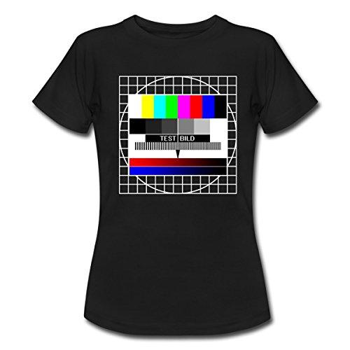 Spreadshirt Analoges Fernsehtestbild TV Testbild Frauen T-Shirt, M, Schwarz