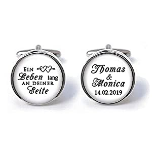 Manschettenknöpfe Bräutigam Ein Leben lang an deiner Seite mit Namen Datum Hochzeit schwarz