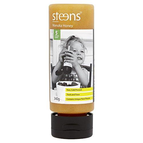 Steens Roher Manuka-Honig MGO 83 (UMF 5) 340 G | Purer Roher, Kalt Verarbeiteter, Nicht Pasteurisierter Honig Aus NZ | Natürliche Heileigenschaften Bei Halsschmerzen Und Zum Aufbau Des Immunsystems
