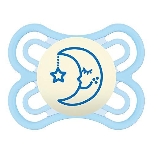 MAM Perfect Night 0-6 Schnuller, beugt Zahnfehlstellungen vor, besonders dünner & flexibler Silikonschnuller, leuchtet im Dunkeln, ab der Geburt, blau (Von Leuchtet Mam Dunkeln Schnuller Im)