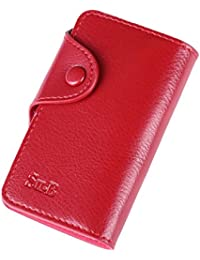 Su.B - Estuche para Llaves en Piel - 6 Llaveros Monedero con cremallera para monedas o tarjetas, un anillo con una cadena más larga para la llave de su casa - Rojo