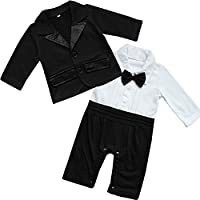 YIZYIF Toddler Boy Baby Bowknot Gentleman Bow Tie Romper + Suit Coat sets for Wedding ,Party ,Celebration , Special Occasions # 1 Black White 3-6 Months